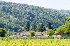 巴尔干的脚的特罗扬修道院在保加利亚 免版税库存照片
