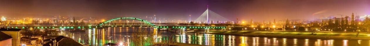 贝尔格莱德全景在萨瓦河的 免版税库存图片