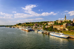 从贝尔格莱德堡垒,贝尔格莱德塞尔维亚的看法 免版税库存照片