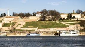 贝尔格莱德Kalemegdan堡垒和河Sava 免版税库存照片