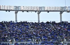 巴尔的摩乌鸦橄榄球场爱好者 库存图片
