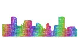 巴尔的摩地平线剪影-多色线艺术 免版税库存图片