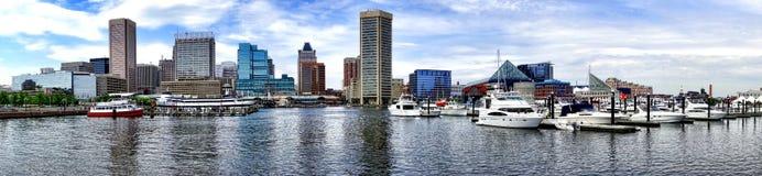 巴尔的摩马里兰内在港口小游艇船坞都市风景 免版税库存照片