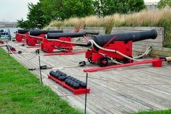 巴尔的摩, MD :在堡垒McHenry的大炮 库存照片