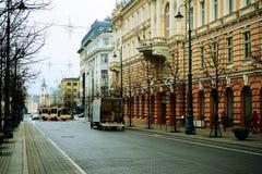 维尔纽斯在秋天时间的市中心2014年11月14日 免版税库存照片