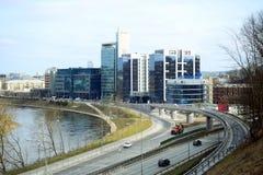维尔纽斯在Gelezinis Vilkas街道的市运输 库存照片