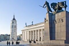 维尔纽斯大教堂广场 免版税库存图片