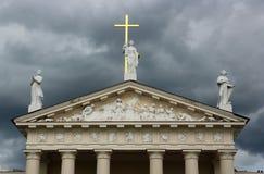 维尔纽斯大教堂,立陶宛门面  免版税库存图片