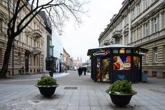 维尔纽斯市上午时间冬天视图 免版税图库摄影