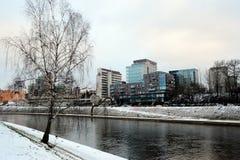 维尔纽斯市上午时间冬天视图 库存图片