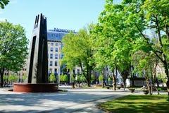 维尔纽斯市在早晨时间的Gediminas街道 库存图片