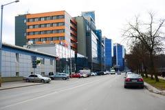 维尔纽斯市房子在2015年3月13日的中心 免版税图库摄影
