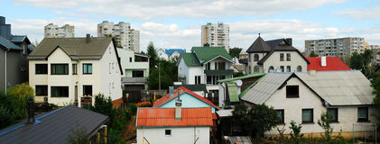 维尔纽斯市房子在Fabijoniskes区 免版税库存图片