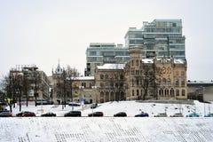 维尔纽斯市白色冬天早晨时间全景 免版税库存图片