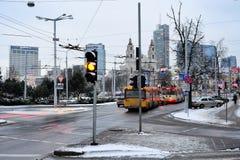 维尔纽斯市白色冬天早晨时间全景 免版税库存照片
