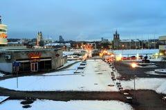 维尔纽斯市白色冬天早晨时间全景 免版税图库摄影