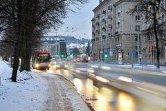 维尔纽斯市白色冬天早晨时间全景 库存照片