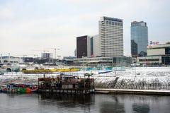 维尔纽斯有摩天大楼的冬天全景涅里斯河河委员会的 免版税图库摄影