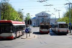 维尔纽斯末端台车驻地在市中心。立陶宛。 免版税库存照片