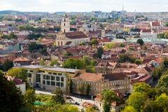 维尔纽斯老镇顶视图全景  库存照片