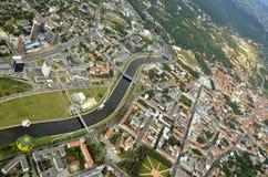 维尔纽斯老镇,立陶宛鸟瞰图  库存图片