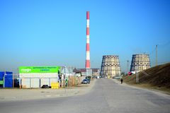 维尔纽斯能量(Vilniaus energija)能量生产商在城市 免版税库存照片