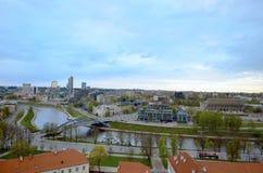维尔纽斯镇,立陶宛鸟瞰图  库存图片