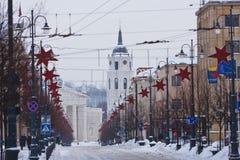 维尔纽斯,圣诞节街道  库存照片