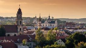 维尔纽斯,立陶宛的中心 从被驾驶的飞行的对象的鸟瞰图 库存图片
