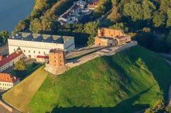 维尔纽斯,立陶宛的中心 从被驾驶的飞行的对象的鸟瞰图 免版税库存图片