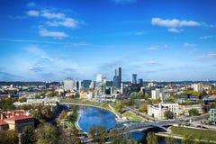 维尔纽斯,立陶宛的首都顶视图  免版税库存照片