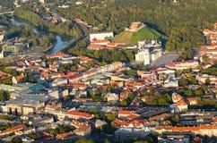 维尔纽斯,立陶宛老镇鸟瞰图  库存照片