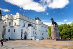 维尔纽斯,立陶宛- 2016年8月11日:大教堂广场,维尔纽斯老镇的大广场 免版税库存图片