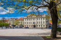 维尔纽斯,立陶宛- 2017年5月09日:大教堂正方形在春天 库存照片