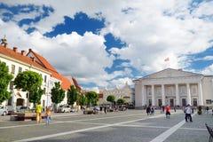 维尔纽斯,立陶宛- 2016年8月11日:市政厅广场在Pilies街结束时是贸易和ev的一个传统中心 库存照片