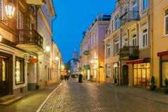 维尔纽斯 舒适下房子晚上浪漫海星街道 库存图片