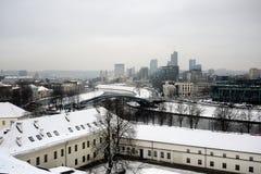 维尔纽斯从Gediminas城堡塔的冬天全景 免版税库存图片