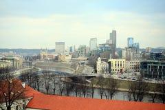 维尔纽斯从Gediminas城堡塔的冬天全景 图库摄影