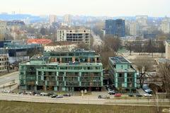 维尔纽斯从Gediminas城堡塔的冬天全景 免版税库存照片