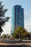 维尔纽斯Savanoriu街道的市摩天大楼 图库摄影