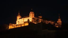 维尔茨堡城堡的看法在巴伐利亚在晚上 免版税库存图片