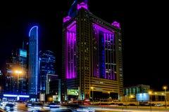 费尔蒙特旅馆,回教族长在迪拜zayed路 库存图片