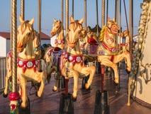 黑尔讷海湾码头,转盘马在晚上阳光下 免版税库存照片