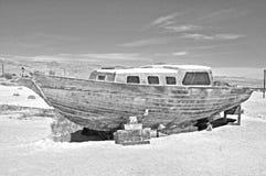 索尔顿湖:被放弃的风船 免版税库存照片