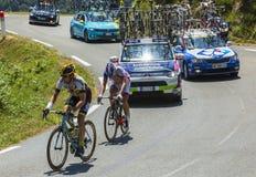 彻尔d'Aspin的-环法自行车赛两个骑自行车者2015年 免版税库存图片