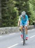 彻尔du Tourmalet -环法自行车赛的亚历山德罗Vanotti 2014年 库存图片