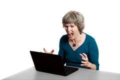 尖叫强调的计算机的用户 免版税库存照片