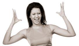 尖叫恼怒的混合的族种的妇女 免版税图库摄影