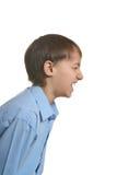 尖叫恼怒的男孩 免版税库存照片