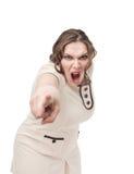 尖叫正大小的妇女指向手指和 库存照片